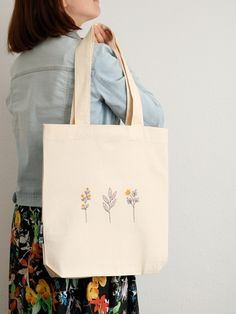 Handmade Cotton Tote Bag in Distressed Denim and Reversible Candy Colours Interior