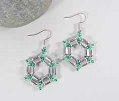 Silver Hexagon Earrings Large Hoop Earrings Wife Gift