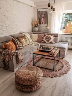 Boho Living Room, Home And Living, Living Room Decor Tumblr, Cozy Living Rooms, Living Room Inspiration, Home Decor Inspiration, Fall Room Decor, Apartment Living, Living Room Designs