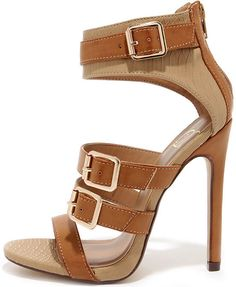Show and Tall Tan Snakeskin Belted High Heel Sandals
