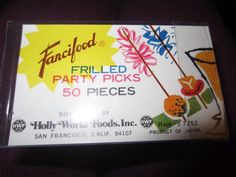 Fancifood FRILLED PARTY PICKS 50 PIECES Holly World Foods, Inc San Francisco Calif Japan kitschy advertising