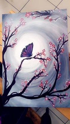 Akrilik tuval manzara - Hobbies paining body for kids and adult Easy Canvas Painting, Moon Painting, Simple Acrylic Paintings, Acrylic Art, Painting & Drawing, Canvas Art, Butterfly Art, Beautiful Paintings, Painting Inspiration