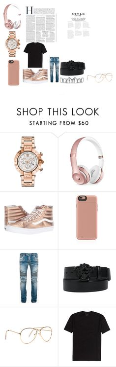 """""""rose gold men"""" by kytraviusrichar ❤ liked on Polyvore featuring Versace, Beats by Dr. Dre, Vans, Mophie, Balmain, men's fashion and menswear"""