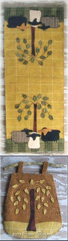 """Sheep Oasis Table Runner 11"""" by 27""""... plus Willow Gathering Twig Bag"""