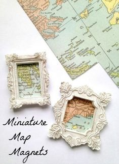 Miniature Map Magnets Craft Tutorial Miniature Map Magnets - great for DIY Travel Keepsakes, wanderlust wish lists, hanging things in your home decor or just beautiful little gifts! Want great tips on arts and crafts? Head out to our great site! Map Crafts, Travel Crafts, Fun Travel, Crafts With Maps, Travel Ideas, Travel Inspiration, Travel Wall, Decor Crafts, Fabric Crafts