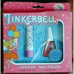 Tinkerbell lipstick and nail polish I loved this! The nail polish could be peeled off. I even belonged to the Tinkerbell club :) 90s Childhood, My Childhood Memories, Great Memories, School Memories, Tinkerbell Makeup, Before I Forget, Kids Makeup, Cheap Makeup, Makeup Set