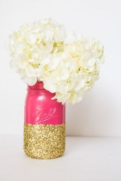 Hot Pink and Gold Glitter Mason Jar
