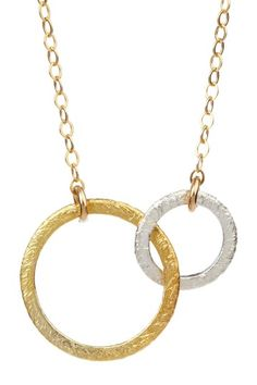 MRE Brushed Double Circle Necklace by MRE on @HauteLook
