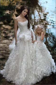 Fantasy Wedding A Line Bridal Wedding Dresses Beaded Flower Girl Dress Custom | eBay