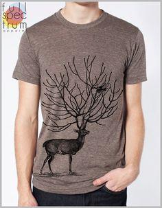 Deer and Bird Men's Tee T Shirt American by FullSpectrumApparel