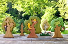 BIG SET Wooden woodland animals toys 9pcs Trees 5pcs | Etsy Small World, Toy Trees, Waldorf Toys, Waldorf Playroom, Nature Table, Wooden Animals, Reno, Flowering Trees, Forest Animals