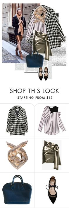 """""""Sasha Pivovarova street style: shimmering gold"""" by marierabier ❤ liked on Polyvore featuring Bohème, Marina D'Este, Yves Saint Laurent, Louis Vuitton and André Assous"""