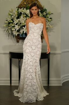 Sweetheart Sheath Wedding Dress  with Natural Waist in Lace. Bridal Gown Style Number:33059841