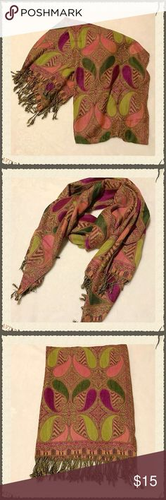 "Oversized Scarf/Wrap/Shawl Gorgeous oversized scarf, large enough to be worn as a wrap or shawl. Shades of pink, green, and purple/magenta. Gently worn. Only a few minor pulls in the fabric (a couple examples shown in pics). The tag attached says 70% viscose, 30% wool. Brand is unknown. Measures 28x72"". Colors are more vibrant in person! Accessories Scarves & Wraps"