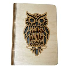 An wooden book cover with an Owl design and featuring a laser cut 'Living Hinge'. Laser Cut Wood, Laser Cutting, A5 Book, Living Hinge, Wooden Owl, Wooden Books, Metal Art, Print Design, Wall Art