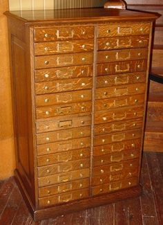 Quartered oak 30 drawers office cabinet We have numerous store/office drawer units available at Antiques Oronoco in Oronoco,MN.