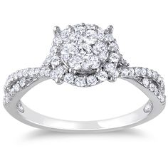 Round diamond cluster ring10-karat white gold jewelryClick here for ring sizing guideGift box included