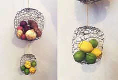Turn Chicken Wire into Hanging Produce Baskets - maybe mold it around a bowl?