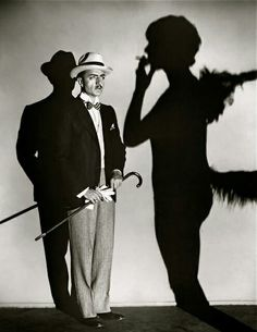 William Powell in The Canary Murder Case with Louise Brooks in silhouette
