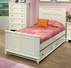 Athena Raised Panel Bed with Trundle in White by Acme Furniture