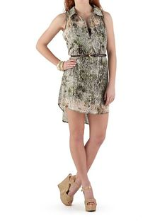 dots: Sleeveless Belted Snake Print Dress ... $22.80