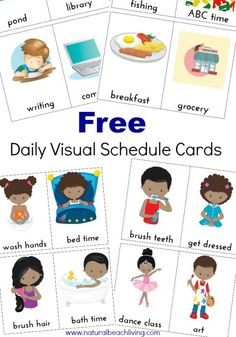Extra Daily Visual Schedule Cards Free Printables These Daily Visual Schedule Cards are exactly what everyone needs. Perfect for special needs, Autism, children that do best with a visual plan. Organization at home or school with FREE PRINTABLES Visual Schedule Printable, Visual Schedule Autism, Daily Schedule Kids, Schedule Cards, School Schedule, Visual Schedules, Free Printables, Daily Routines, Daily Routine Chart For Kids