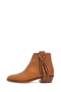 Valentino|Fringe Grained Leather Ankle Boots in Light Cuir