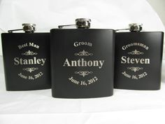 7 Personalized Flasks Groomsman Best Man Father of by engravingwiz