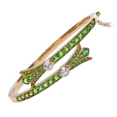 Gold, Diamond & Demantoid Garnet Bangle, Early 20th Century