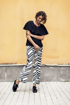 Nina Campioni at ELLE Sweden is wearing Nina Campioni Marimekko pants, Daisy Grace top and Superga shoes - check it out!