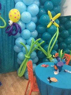 Finding Nemo Birthday Party Ideas | Photo 1 of 18 | Catch My Party 1st Birthday Parties, Birthday Party Decorations, Baby Shower Decorations, 3rd Birthday, Birthday Ideas, Baby Shower Items, Under The Sea Party, Finding Dory, Lighting Ideas