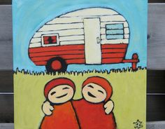 Red Camper Painting Best Friends Love Art 10 x 10 by ScowlingOwl