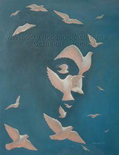 Octavio Ocampo - Dove and Peace optical illusion Optical Illusion Paintings, Art Optical, Optical Illusions, Art And Illustration, Illusion Kunst, Illusion Art, Op Art, Fantasy Kunst, Fantasy Art