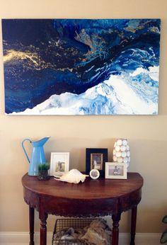 """Rider on the Storm"" original abstract Laura Adams Wilson. Deep inky blue art. Metallic gold. Fluid art. Abstract ocean."