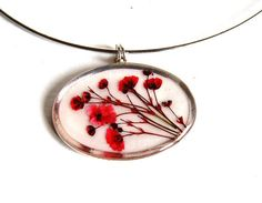 Handmade Resin Necklace with Real Flowers, Real Flower Pendant, Resin…