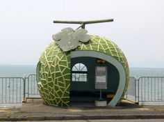 muskmelon-shaped bus-stop in Konagai, Japan