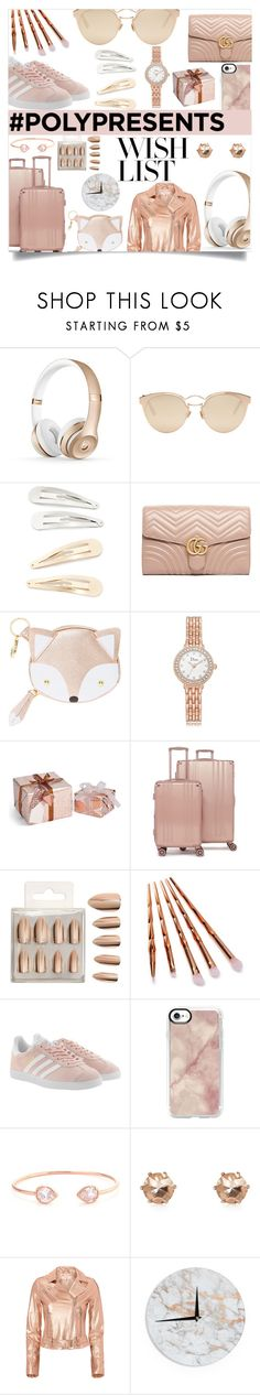 """#PolyPresents: Wish List - Rose Gold"" by blingarazzi ❤ liked on Polyvore featuring Christian Dior, Kitsch, Gucci, CalPak, Forever 21, Miss Selfridge, adidas Originals, Casetify, Belk Silverworks and River Island"