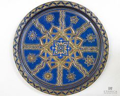 Blue round serving tray / Decorative plate / painted by NikaEthnica