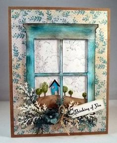 Another lovely card made with the Madison Window die by Poppy Stamps.