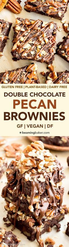 Double Chocolate Pecan Brownies (V, GF, DF): an easy recipe for rich, fudgy brownies packed with pecans and chocolate drizzle. #Vegan #GlutenFree #DairyFree | http://BeamingBaker.com