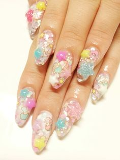 Super Adorable And Cute Little Twin Star Pastel Baby Blue Pink Japanese Nail Art Manicure