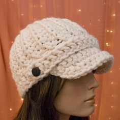 The Crochet Classic Newsboy Hat Pattern by Lady Baron Crochet Buttons, Cotton Crochet, Knit Crochet, Crochet Hats, Crochet Things, Crochet Flower, Crochet Scarves, Free Crochet, Crochet Newsboy Hat