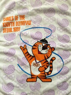 Vintage Seoul 1988 Olympics Souvenir Towel Rare Collectible South Korea #SouthKorea