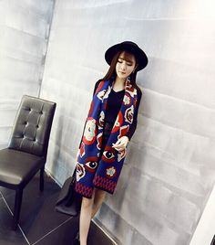 NEW ARRIVAL!!! Tiger head fish and eye graffiti scarf wholesale fashion women stitching long warm winter shawl-in Scarves from Women's Clothing & Accessories on Aliexpress.com | Alibaba Group