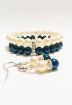 navy blue and white pearl bracelets and earring sets | Pearl Wedding Jewelry / Bracelet and Earring Set / Blue Wedding ...