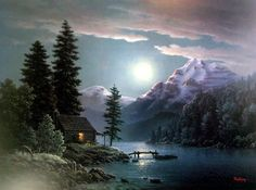 by dalhart windberg - I love this cozy cabin with the full moon shining on the water Ghost House, Romance Art, Cottage In The Woods, Mountain Paintings, Beautiful Moon, Painting Gallery, Animation, Moon Art, Pictures To Paint
