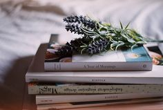 Books & lavender by sheshakes on Flickr.