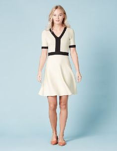 Boden Olivia Knitted Dress Ivory/Black Women Boden, This pretty knitted dress has just the right balance of simple, functional style and subtle details. Made fromdrapeycotton viscose, it has an elegant neckline highlighted by a contrast crochet trim. http://www.MightGet.com/january-2017-13/boden-olivia-knitted-dress-ivory-black-women-boden-.asp