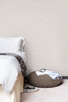 Self adhesive vinyl temporary removable wallpaper, wall decal - Geometric pattern- 013 SNOW/ LATTE