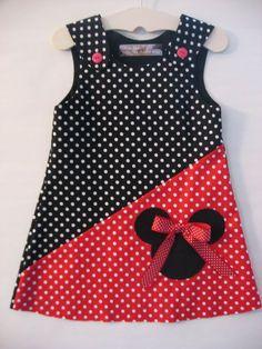 Ähnliche Artikel wie Rot/schwarz Minnie Mouse Kleid auf Etsy